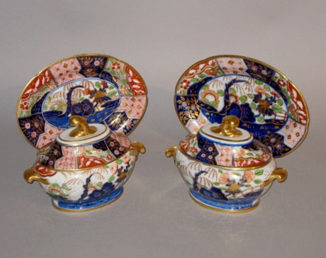 Pair Coalport Tureens, Covers & Stands, circa 1820. - Click to enlarge and for full details.