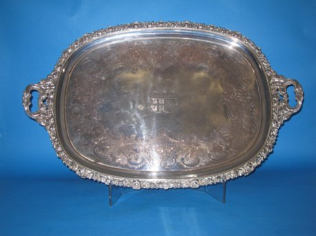Regency Old Sheffield Plate Silver Tea Tray, circa 1825 - Click to enlarge and for full details.