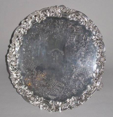 A 19th Century Silver Salver. Robert Hennell, London 1846. - Click to enlarge and for full details.