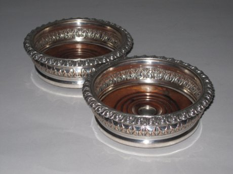 Pair of Regency Old Sheffield Plate Silver Coasters, circa 1825. - Click to enlarge and for full details.