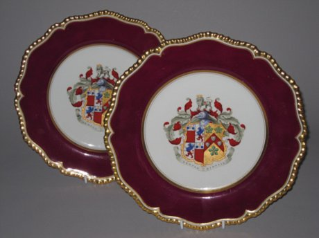 Pair of Flight Barr & Barr Armorial Dessert Dishes. Circa 1820. - Click to enlarge and for full details.