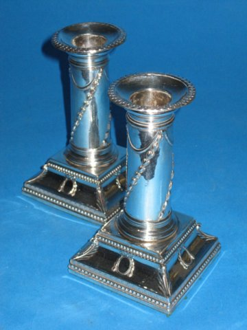 Pair Old Sheffield Plate Silver Dwarf Candlesticks. Circa 1775. - Click to enlarge and for full details.
