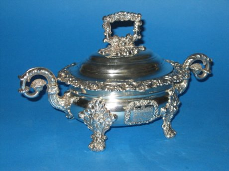 Old Sheffield Plate Silver Sauce Tureen, circa 1825. - Click to enlarge and for full details.