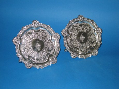 A Fine Pair of Regency Old Sheffield Plate Silver Waiters, circa 1825. - Click to enlarge and for full details.