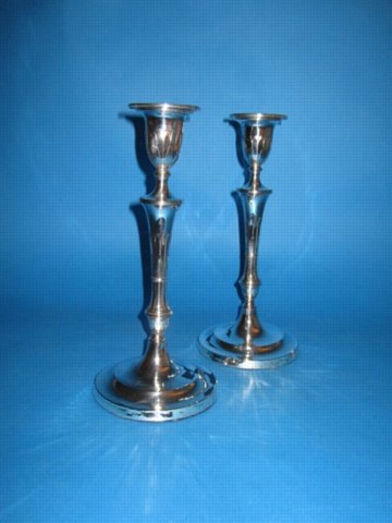 A Pair of George III Candlesticks, circa 1790. - Click to enlarge and for full details.
