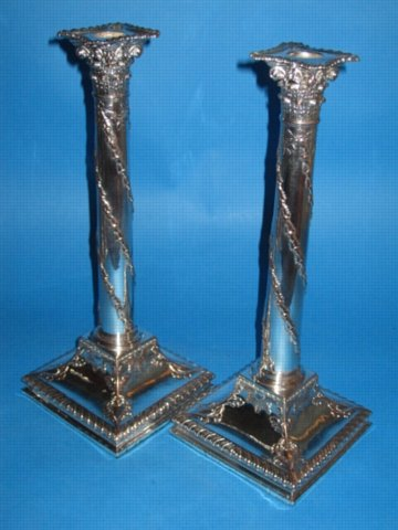 A Pair of George III Corinthian Column Candlesticks, circa 1780. - Click to enlarge and for full details.