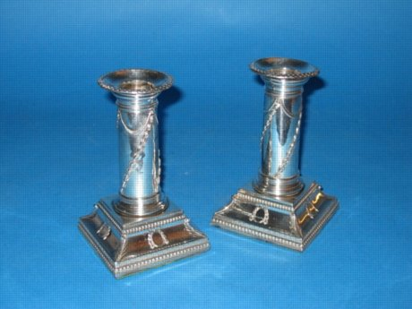 A Pair of George III Dwarf Candlesticks, circa 1780. - Click to enlarge and for full details.