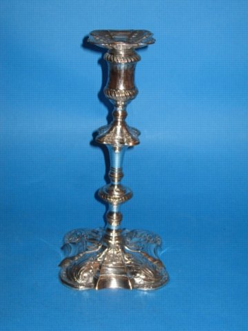 A rare George IIII Single Candlestick, by Joseph Hancock, circa 1757-60. - Click to enlarge and for full details.
