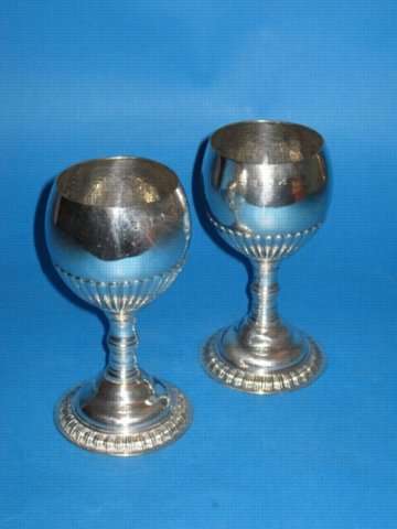 A pair of George III Wine Goblets by Henry Tudor & Co., circa 1760.  - Click to enlarge and for full details.