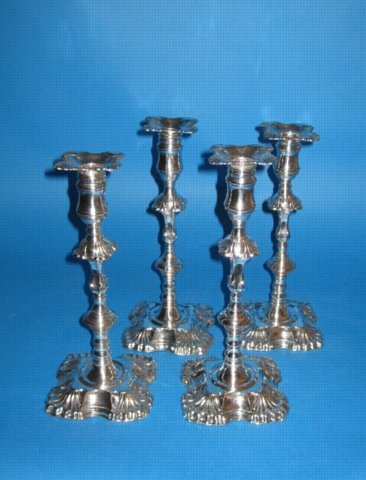 A Good Early set of four George III Candlesticks by Henry Tudor & Co., circa 1765. - Click to enlarge and for full details.