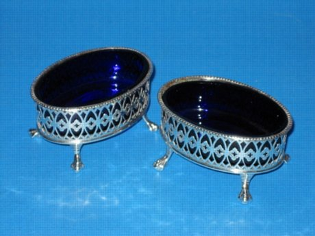 A Pair of George III Salt Cellars, circa 1790. - Click to enlarge and for full details.