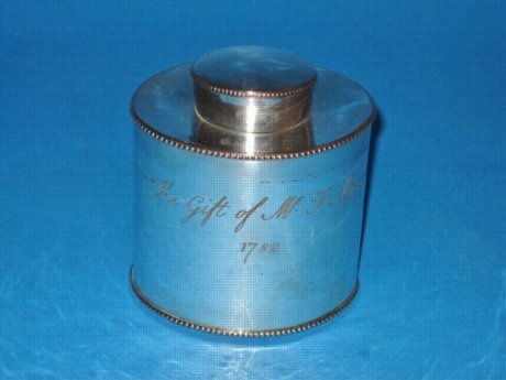 A George III Tea Canister, Dated 1782. - Click to enlarge and for full details.