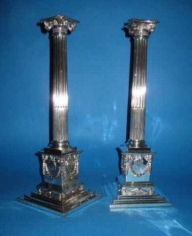 A Pair of George III Pedestal Candlesticks by Boulton & Fothergill, circa 1775. - Click to enlarge and for full details.
