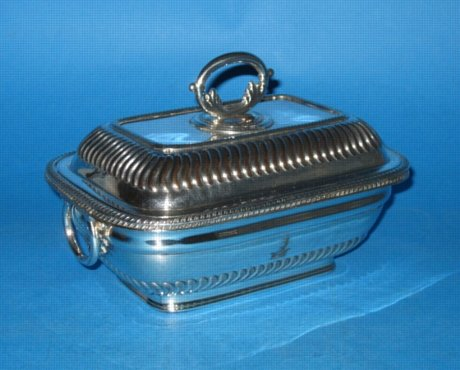 A Late George III Old Sheffield Plate Silver Sauce Tureen & Cover, circa 1820. - Click to enlarge and for full details.