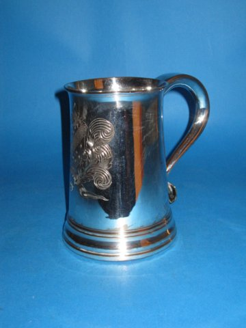 A George III Old Sheffield Plate Silver Tankard, circa 1770. - Click to enlarge and for full details.