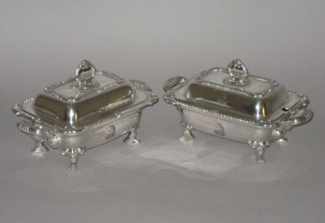 Pair George III Old Sheffield Plate Silver Sauce Tureens & Covers, circa 1815 - Click to enlarge and for full details.
