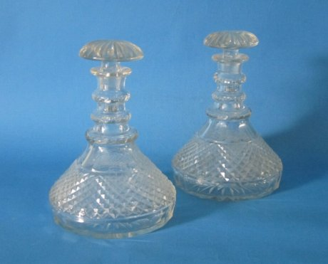 Pair Victorian Ships Decanters, circa 1890. - Click to enlarge and for full details.