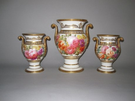 Garniture SPODE Vases, circa 1815. - Click to enlarge and for full details.