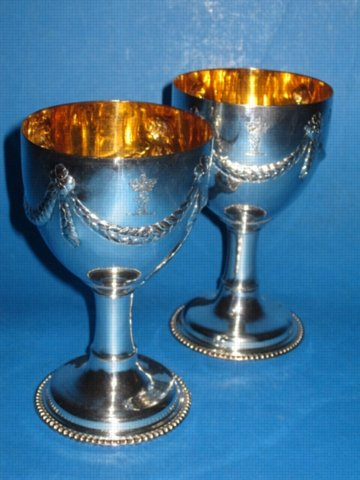 Pair George III Old Sheffield Plate Silver Goblets. Circa 1790. - Click to enlarge and for full details.