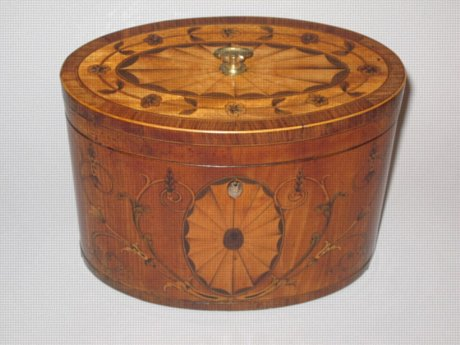 CHIPPENDALE PERIOD OVAL SATINWOOD TEA CADDY. CIRCA 1775 - Click to enlarge and for full details.