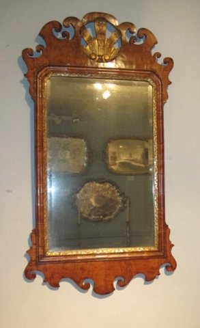 GEORGE II WALNUT & GILTWOOD MIRROR. CIRCA 1750. - Click to enlarge and for full details.