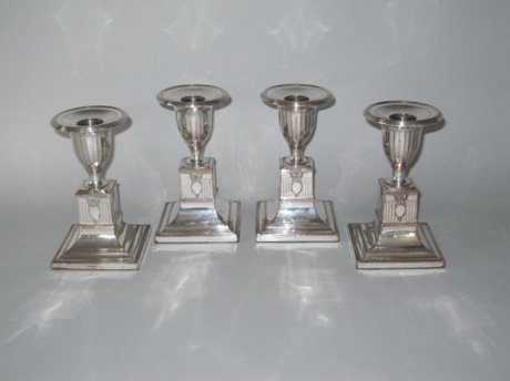 Set of four Old Sheffield Plate Silver Dwarf Candlesticks. Circa 1785. - Click to enlarge and for full details.