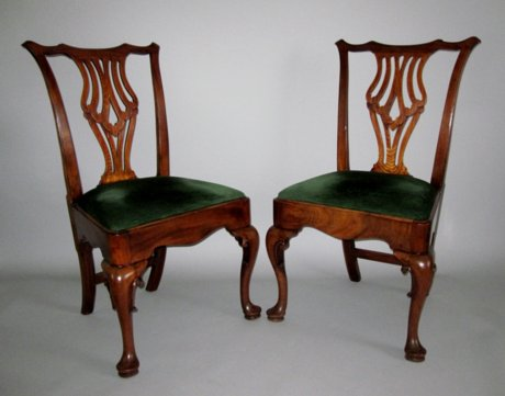 PAIR MAHOGANY SIDE CHAIRS. GEORGE II, CIRCA 1750 - Click to enlarge and for full details.