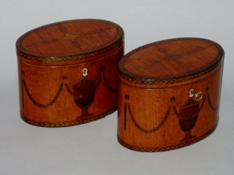 PAIR SATINWOOD & INLAID TEA CADDIES. CIRCA 1785 - Click to enlarge and for full details.