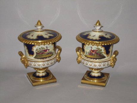 PAIR FLIGHT BARR & BARR URNS & COVERS. CIRCA 1815-20 - Click to enlarge and for full details.