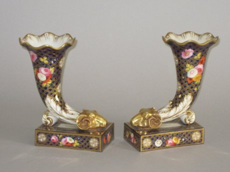 RARE PAIR RIDGEWAY PORCELAIN CORNUCOPIA. CIRCA 1815. - Click to enlarge and for full details.