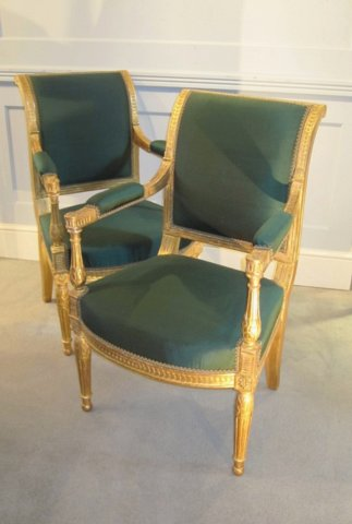 Pair of Early 19th Century French Gilt Fauteuil Armchairs. - Click to enlarge and for full details.