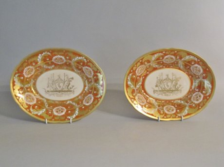 Rare Pair Herculaneum Porcelain Dessert Dishes from the Liverpool Service - Click to enlarge and for full details.
