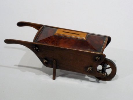 19th CENTURY TREEN WHEELBARROW MONEY BOX, CIRCA 1840 - Click to enlarge and for full details.