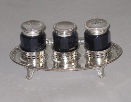 OLD SHEFFIELD PLATE SILVER INK STAND, CIRCA 1780. - Click to enlarge and for full details.