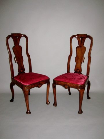 PAIR QUEEN ANNE PERIOD WALNUT CHAIRS, CIRCA 1710 - Click to enlarge and for full details.