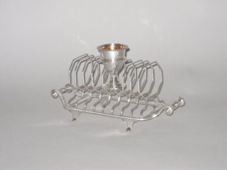 OLD SHEFFIELD PLATE SILVER TOAST RACK, CIRCA 1790. - Click to enlarge and for full details.