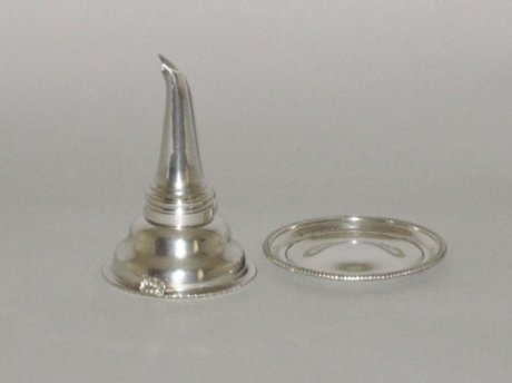 OLD SHEFFIELD PLATE SILVER WINE FUNNEL & STAND,  CIRCA 1810 - Click to enlarge and for full details.