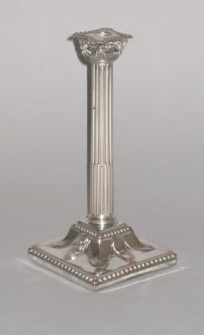 OLD SHEFFIELD PLATE SILVER TAPER STICK, CIRCA 1770. - Click to enlarge and for full details.