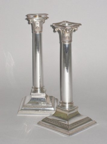 PAIR OLD SHEFFIELD PLATE SILVER CANDLESTICKS. CIRCA 1790 - Click to enlarge and for full details.