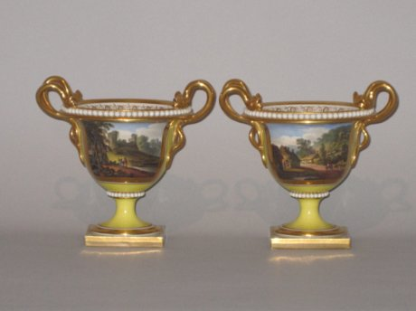 PAIR FLIGHT BARR & BARR WORCESTER VASES, CIRCA 1820 - Click to enlarge and for full details.