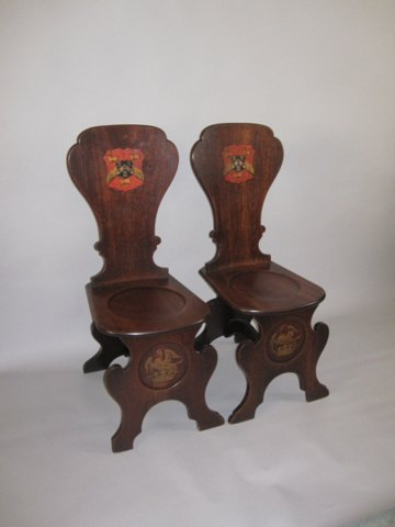 IMPORTANT PAIR OF EARLY 18TH CENTURY MAHOGANY ARMORIAL HALL CHAIRS, CIRCA 1720-30 - Click to enlarge and for full details.