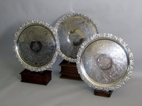 SUITE OF THREE OLD SHEFFIELD PLATE SALVERS - Click to enlarge and for full details.
