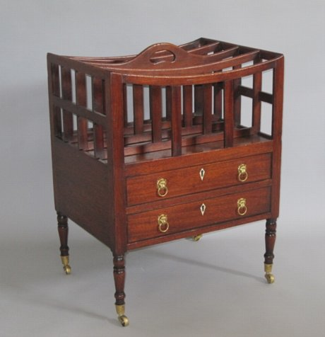 RARE TWO DRAWER MAHOGANY CANTERBURY. CIRCA 1810 - Click to enlarge and for full details.
