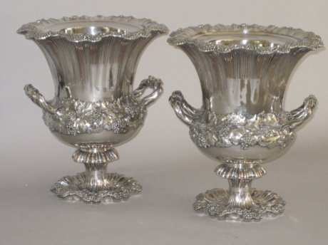 PAIR OLD SHEFFIELD PLATE SILVER WINE COOLERS, CIRCA 1835 - Click to enlarge and for full details.