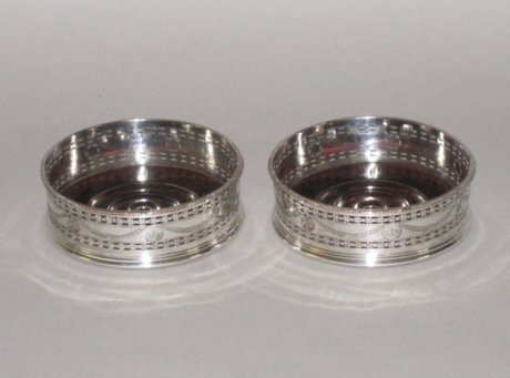 PAIR OLD SHEFFIELD PLATE SILVER WINE COASTERS. CIRCA 1780 - Click to enlarge and for full details.