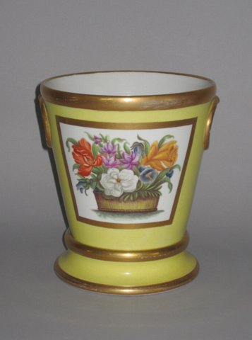 REGENCY COALPORT PORCELAIN CACHEPOT & STAND. CIRCA 1820 - Click to enlarge and for full details.
