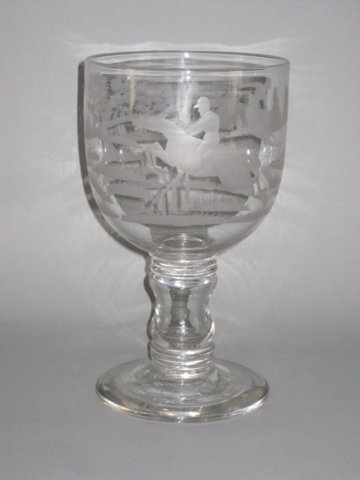 EARLY 19TH CENTURY ENGRAVED GLASS GOBLET - Click to enlarge and for full details.