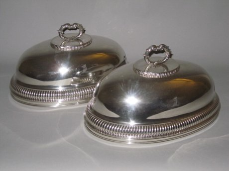 PAIR OLD SHEFFIELD PLATE SILVER DISH COVERS. CIRCA 1810 - Click to enlarge and for full details.