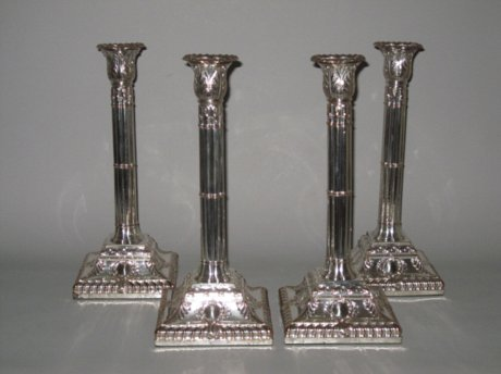 GOOD SET OF OLD SHEFFIELD PLATE CANDLESTICKS. CIRCA 1765-70  - Click to enlarge and for full details.