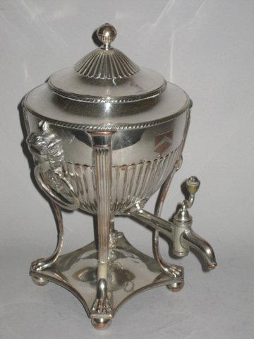 OLD SHEFFIELD PLATE SILVER TEA URN. CIRCA 1800 - Click to enlarge and for full details.